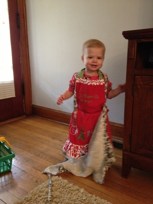 My Daughter Lily Wearing Her Mom's Apron